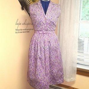 Vintage 1950s purple floral cotton day dress